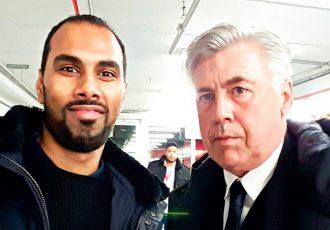 Chris Punnakkattu Daniel (CPD Football) and FC Bayern München Head Coach Carlo Ancelotti