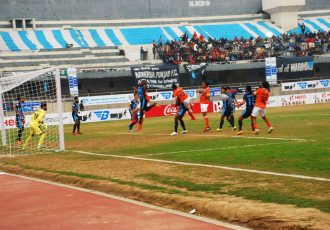 Match action during the I-League encounter Minerva Punjab FC v Mumbai FC. (Photo courtesy: I-League Media)