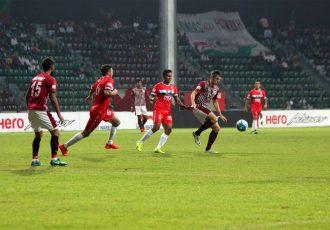 Match action during the I-League encounter Mohun Bagan AC v DSK Shivajians FC (Photo courtesy: I-League Media)