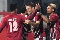 Match action during the I-League encounter Mohun Bagan AC v Aizawl FC. (Photo courtesy: I-League Media)