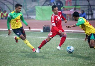 Match action during the I-League encounter Shillong Lajong FC v Chennai City FC (Photo courtesy: Shillong Lajong FC)