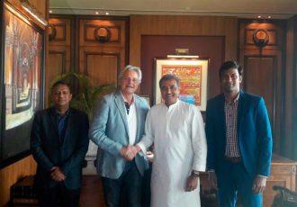 Kushal Das, Luís Norton de Matos, Praful Patel and Abhishek Yadav (Photo courtesy: AIFF Media)