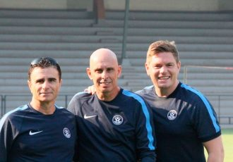 Indian national team head coach Stephen Constantine with Nicos Zenious (left) and Nicholas de-Long (right). (Photo courtesy: AIFF Media)