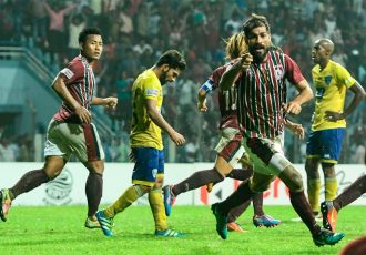 Balwant Singh's celebrating his late strike for Mohun Bagan (Photo courtesy: I-League Media)