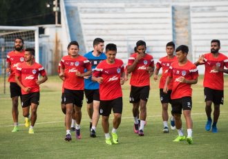Bengaluru FC players in training at the Rabindra Sarobar Stadium, in Kolkata (Photo courtesy: Bengaluru FC)