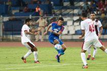 Daniel Lalhlimpuia takes a shy at goal during the game between Bengaluru FC and Mohun Bagan (Photo courtesy: Bengaluru FC)