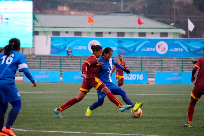 Indian Women's national team match action (Photo courtesy: AIFF Media)