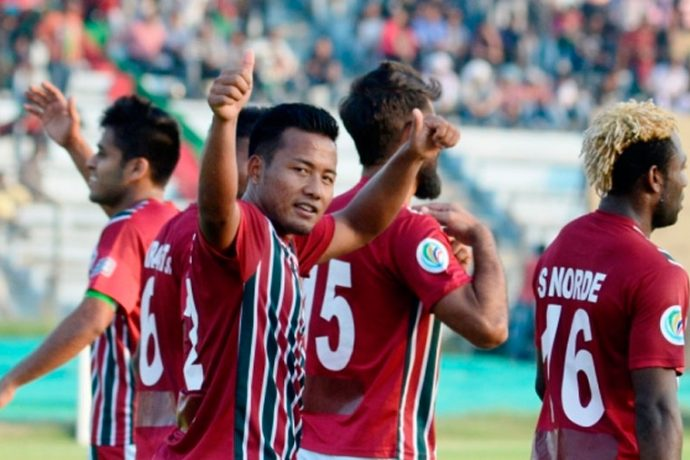 Jeje Lalpekhlua celebrating his goal for Mohun Bagan (Photo courtesy: AIFF Media)