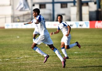 Bengaluru FC midfielder Lenny Rodrigues wheels away in celebration after his goal against Minerva Punjab FC (Photo courtesy: Bengaluru FC)