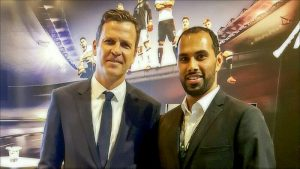 German national team manager Oliver Bierhoff and Chris Punnakkattu Daniel (CPD Football) at the DFB / Mercedes-Benz Integrationspreis 2016 on March 18, 2017.