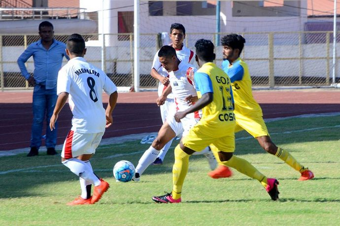Match action during the 71st Santosh Trophy 2017 encounter Goa v Meghalaya (Photo courtesy: AIFF Media)
