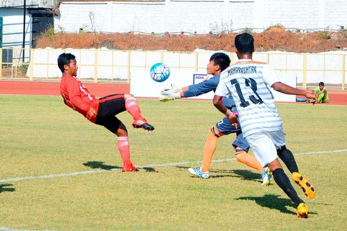 Match action during the Santosh Trophy encounter Mizoram v Maharashtra (Photo courtesy: AIFF Media)