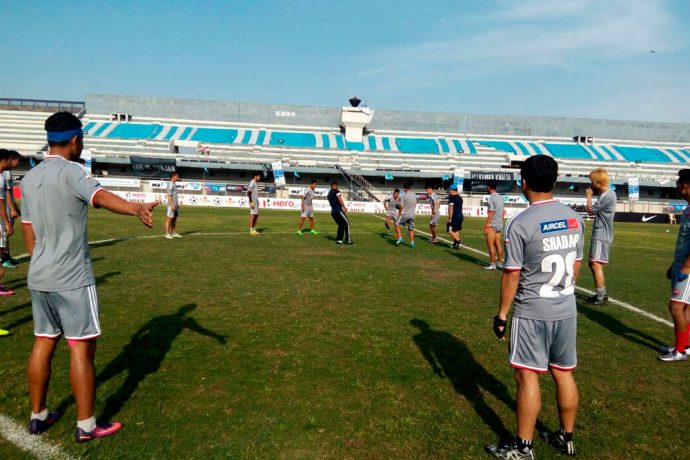 Shillong Lajong FC during a training session at the Guru Nanak Stadium in Ludhiana (Photo courtesy: Shillong Lajong FC)