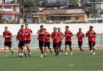 Bengaluru FC players in training at the Jawaharlal Nehru Stadium, in Shillong (Photo courtesy: Bengaluru FC)