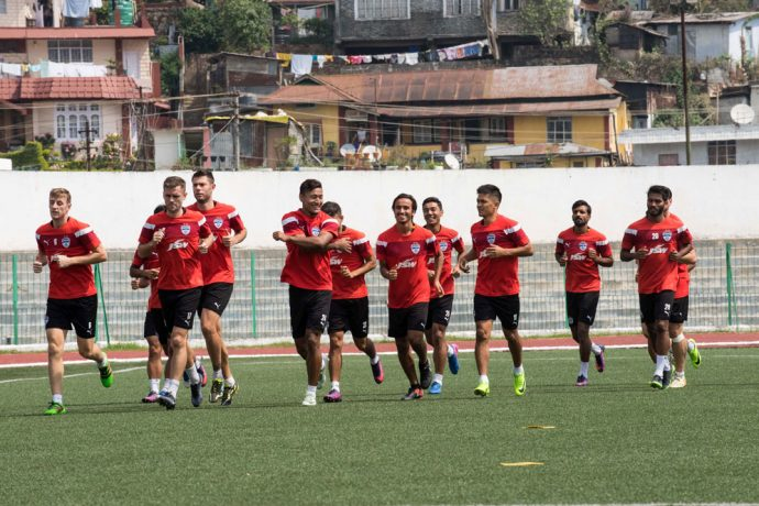 Bengaluru FC players in training at the Jawaharlal Nehru Stadium, in Shillong (Photo courtesy: Bengaluru FC)