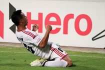 Shillong Lajong's Redeem Tlang celebrating his goal (Photo courtesy: I-League Media)