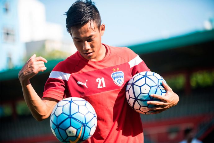 Udanta Singh controls the ball in training (Photo courtesy: Bengaluru FC)