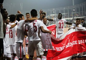 Aizawl FC players celebrating their maidan and historic I-League title (Photo courtesy: I-League Media)