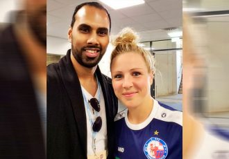 Chris Punnakkattu Daniel (CPD Football) and Germany international and Rio 2016 gold medal winner Svenja Huth (1. FFC Turbine Potsdam).