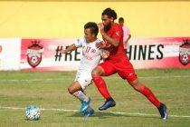 Match action during the I-League encounter Churchill Brothers SC v Aizawl FC (Photo courtesy: I-League Media)