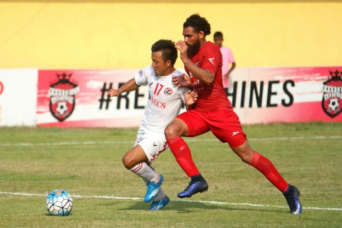 Match action during the I-League encounter Churchill Brothers SC v Aizawl FC (Photo courtesy: I-League Media)