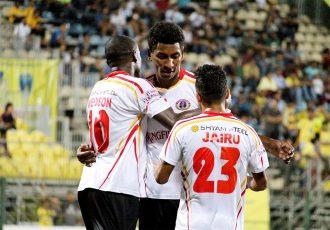 East Bengal Club players celebrating a goal (Photo courtesy: I-League Media)