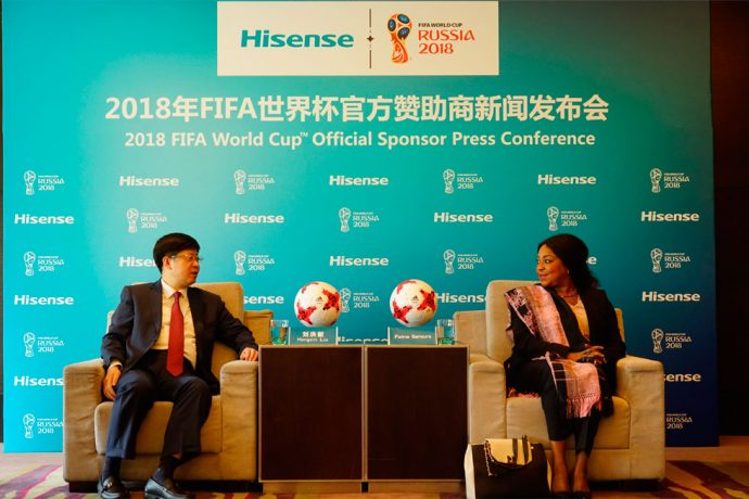 President Liu Hongxin of Hisense and FIFA Secretary General Fatma Samoura at the Official Announcement (Photo courtesy: Hisense)