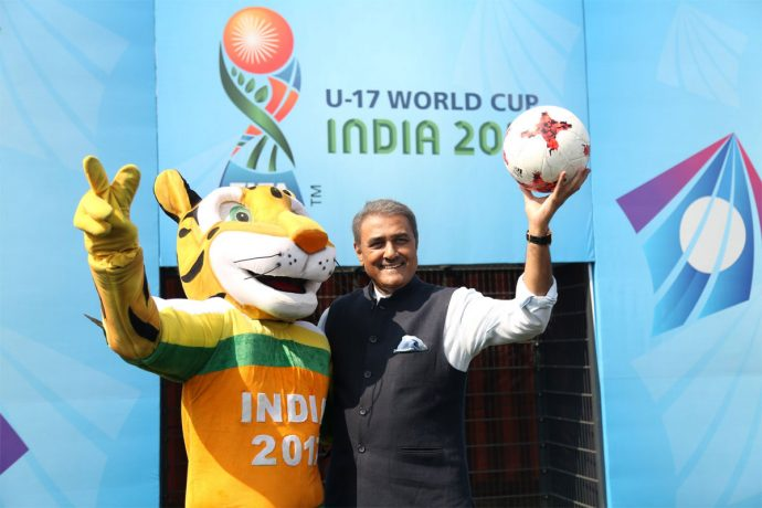 Kheleo, the Official Mascot of the 2017 FIFA U-17 World Cup India 2017, and Praful Patel, President, All India Football Federation (Photo courtesy: AIFF Media)