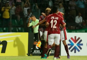 Mohun Bagan AC players celebrating a goal (Photo courtesy: AIFF Media)