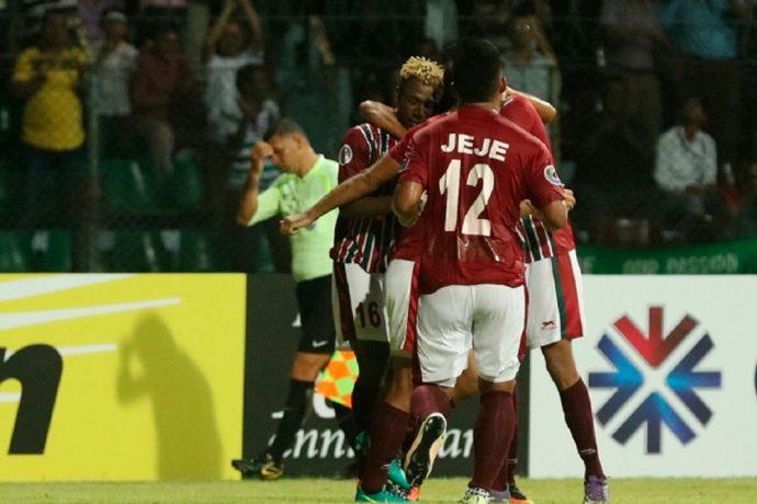 Mohun Bagan AC players celebrating a goal (Photo courtesy: AIFF Media)