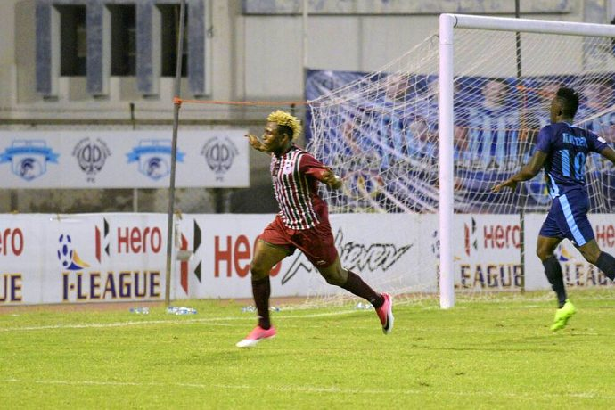 Mohun Bagan star Sony Norde celebrating his goal (Photo courtesy: I-League Media)