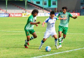 engaluru FC skipper Sunil Chhetri in action against Maziya S&RC at the National Stadium, in Male (Photo courtesy: Bengaluru FC)