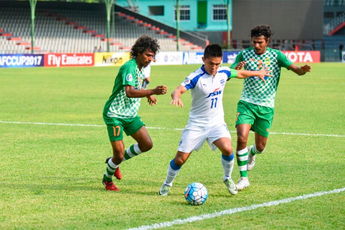 engaluru FC skipper Sunil Chhetri in action against Maziya S&RC at the National Stadium, in Male (Photo courtesy: Bengaluru FC)