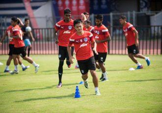 Bengaluru FC skipper Sunil Chhetri in training at the Kanteerava Stadium (Photo courtesy: Bengaluru FC)