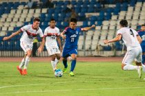 Bengaluru FC skipper Sunil Chhetri scores his first goal of the night against DSK Shivajians at the Kanteerava Stadium (Photo courtesy: Bengaluru FC)