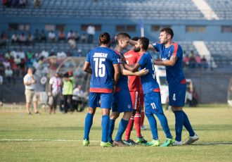 Bengaluru FC players celebrate Cameron Watson's goal against Aizawl FC (Photo courtesy: Bengaluru FC)