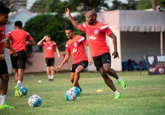 Bengaluru FC striker Cornell Glen in training (Photo courtesy: Bengaluru FC)