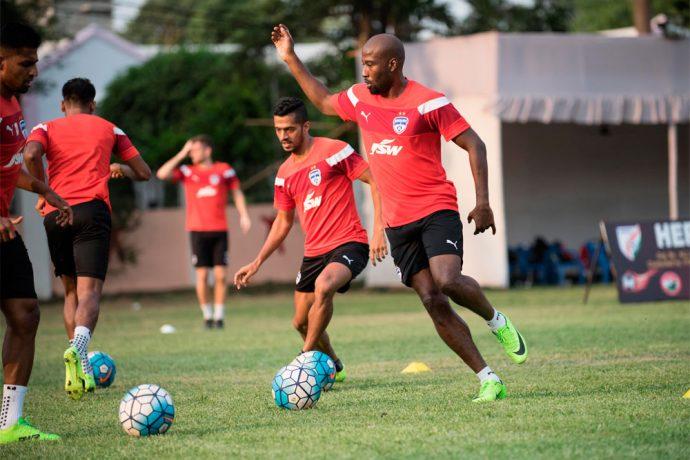 Bengaluru FC striker Cornell Glen in training (Photo courtesy: Bengaluru FC)