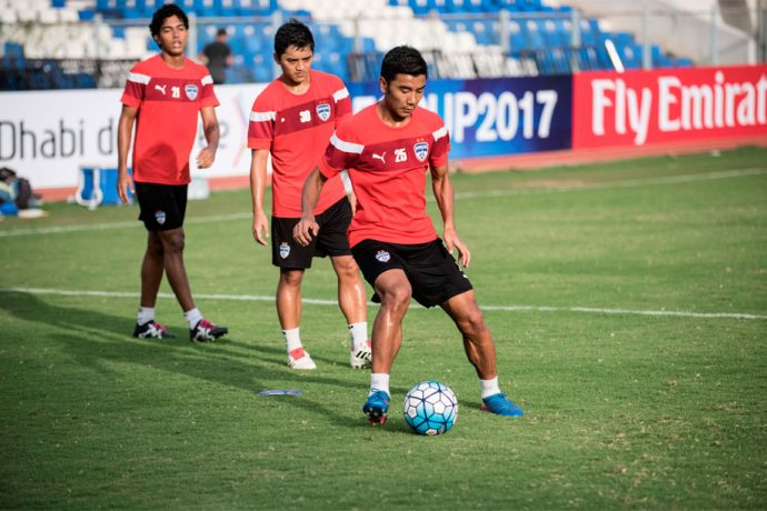 Bengaluru FC striker Daniel Lalhlimpuia in training at the Bangalore Football Stadium (Photo courtesy: Bengaluru FC)