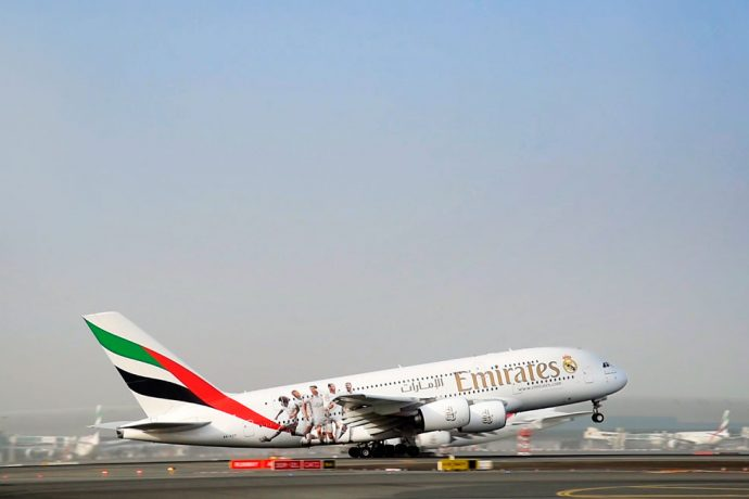The Emirates A380 sporting a Real Madrid decal (Photo courtesy: Emirates)