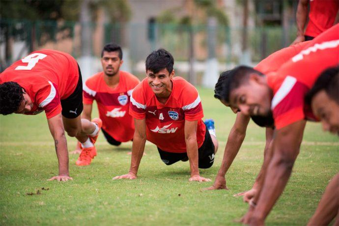 Bengaluru FC midfielder Eugeneson Lyngdoh in training (Photo courtesy: Bengaluru FC)