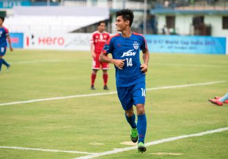 Bengaluru FC midfielder Eugeneson Lyngdoh celebrates his goal (Photo courtesy: Bengaluru FC)