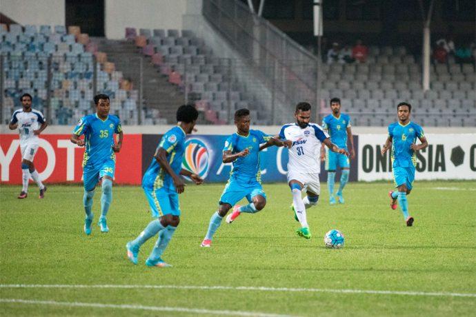 Bengaluru FC striker CK Vineeth in action against Abahani Limited Dhaka at the Bangabandhi Stadium, in Dhaka (Photo courtesy: Bengaluru FC)