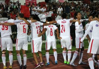 Aizawl FC players celebrating their maidan and historic I-League title (Photo courtesy: I-League Media)