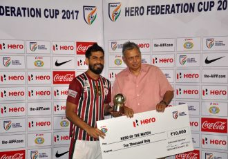 Mohun Bagan star Balwant Singh receiving the the Hero of the Match award (Photo courtesy: Football Association of Odisha)