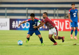 Bengaluru FC striker Sunil Chhetri in action against Mohun Bagan (Photo courtesy: Bengaluru FC)