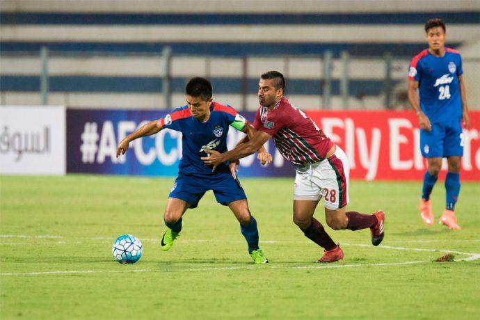 Bengaluru FC striker Sunil Chhetri in action against Mohun Bagan (Photo courtesy: Bengaluru FC)