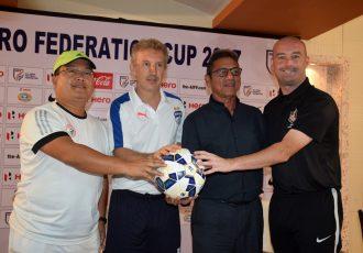Federation Cup 2017 Group B head coaches after the pre-tournament Press Conference: Thangboi Singto (Shillong Lajong FC), Albert Roca (Bengaluru FC), Sanjoy Sen (Mohun Bagan AC) and Dave Rogers (DSK Shivajians FC). (Photo courtesy: Shillong Lajong FC)