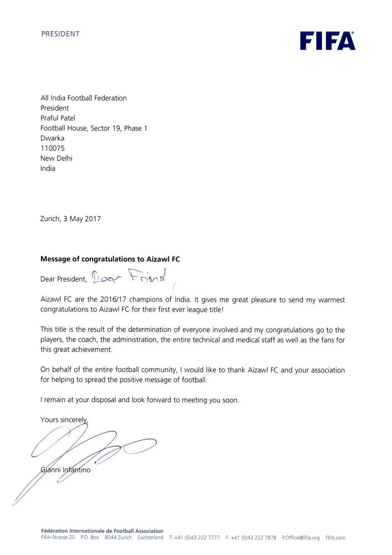 FIFA President Gianni Infantino congratulates I-League champions Aizawl FC