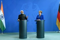 The Prime Minister, Shri Narendra Modi and the German Chancellor, Dr. Angela Merkel at the Joint Press Statements, in Berlin, Germany on May 30, 2017. (Photo courtesy: Press Information Bureau, Government of India)